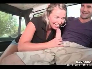 Lustful blonde eating large dick in the bus