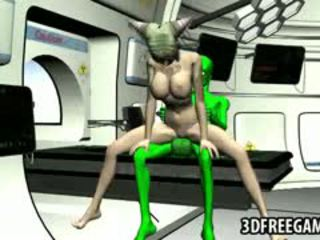 Busty 3D Blonde Babe Gets Fucked Hard By An Alien