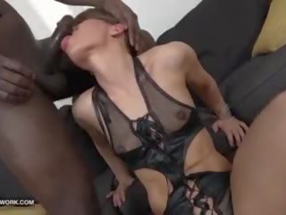 Short hair milf fucked by big black cock in hardcore interracial anal sex