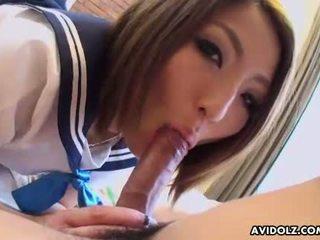 Big ass Asian schoolgirl sucks fucks and toyed