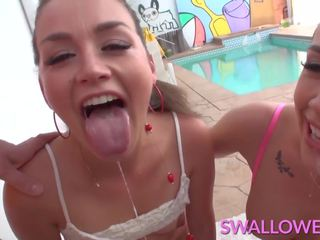 Swallowed allie chanel e romi sloppery deepthroating