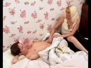Passionate mom makes boy dick hard with hot blowjob and jerking.