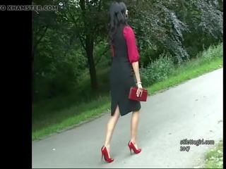 Stiletto Girl Maria Teases in Shiny Nylons Red High...