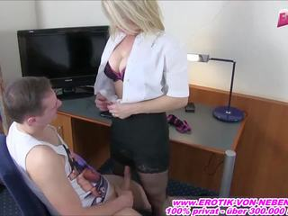 Blond German Mom Fucks with Younger Boy and Swallow Cum