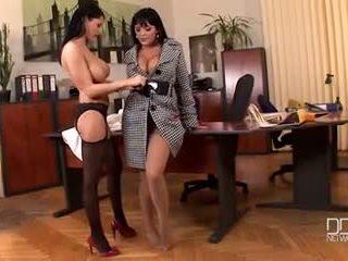 Office girls Jasmine black and Alison Star in pantyhose fetish