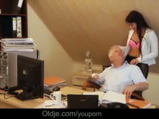 Too Horny to Work Sexy Secretary Blowjob for Old Boss Hard Cock Video