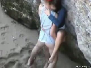 barna, kukkoló, strand, kisbaba