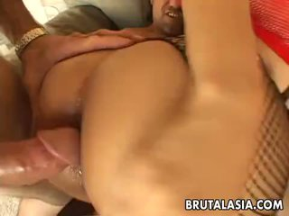 Mega hot busty Asian slut gets spitroasted in