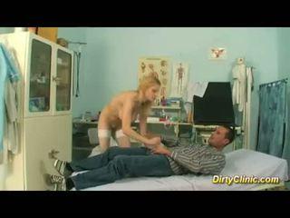 blonde sexy Nurse rides cock