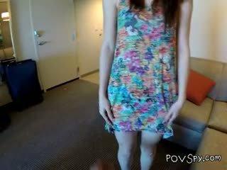 brunette video-, alle pijpbeurt vid, pov gepost