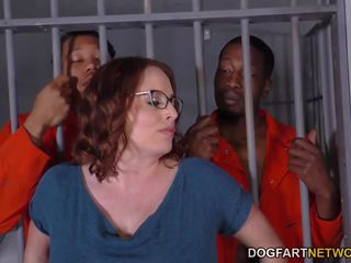 Busty Maggie Green Has Interracial Threesome in Jail...