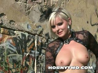 Horny Halloween Gothic Solo Blonde Posing in Fine...