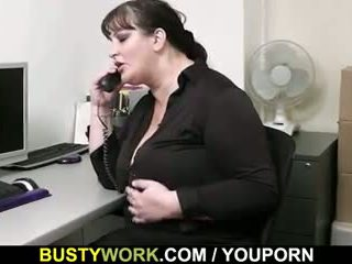Busty chick gets slammed at workplace