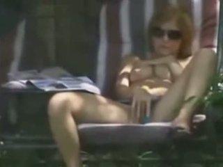 Hot Blonde Caught Masturbating In Her Backyard By