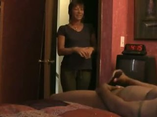 Mature Milf Maid Watches Young Stud Jerk Off