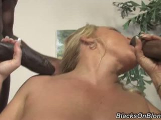 Busty MILF gets double banged by blacks