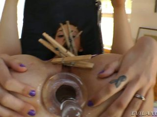 Kinky Luna Enjoys Clothespins On Her Beautiful Pussy