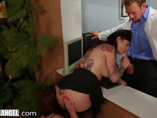 Joanna Angel & Veruca James Buttfucked by Sleazy Bossman