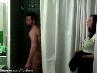 Stepmom waits for son in the shower