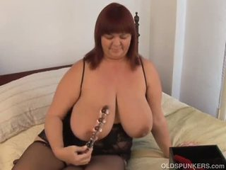 Beautiful busty old spunker imagines you fucking her juicy pussy