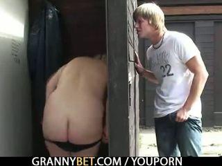 He fucks old bitch in public place
