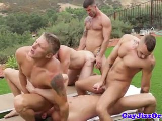 Six pack muscled hunks outdoor orgy