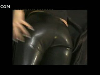 Sexy girl in tight leather pants