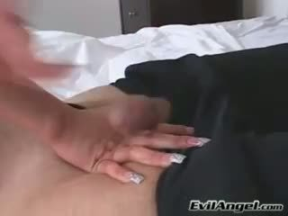 Cock loving babe Alexis Breeze plugs her mouth with a massive errect cock