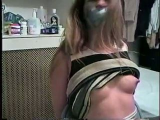 mond gesnoerd scène, meest gebonden neuken, echt gebonden porno