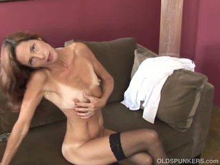 Slim Old Spunker in Sexy Stockings is Feeling Horny...