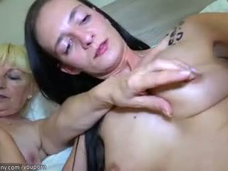 Old lesbian and sexy young lesbian fucking