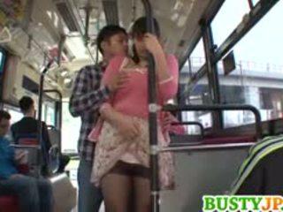 Hana Haruna Busty Sucks Shlong In Bus