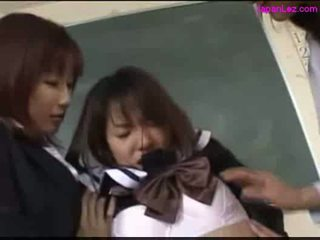Schoolgirl getting her tits rubbed pussy licked by 2 teacher