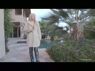 Nikkie superb blonde girl public flashing tits
