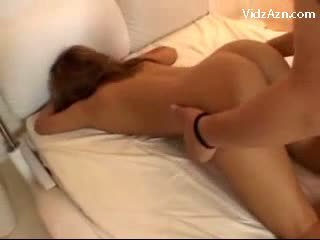 Busty Girl Getting Her Pussy Mouth Rubbed With Cock While Sleeping By 2 Guys On The Bed