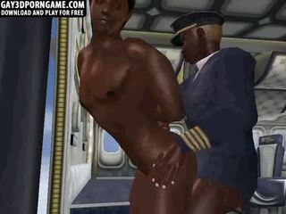 On an airplane these two ebony guys fuck