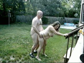 Fat Couple Fucks In The Garden