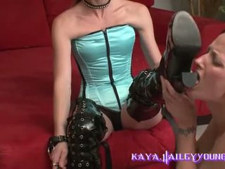 lesbian Bitch is used to lick boots