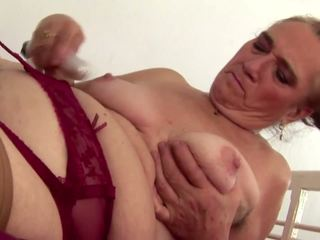 Old but Hot Granny Piss and Plays with Hairy Cunt: Porn 6a