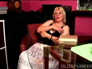 Super cute busty mature blonde BBW fucks her soaking wet pussy