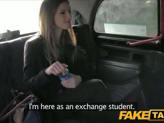 FakeTaxi Stunning brunette makes taxi sextape