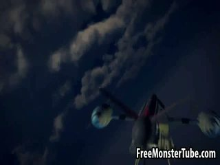 Blue haired 3D babe sucking on an alien's hard cock