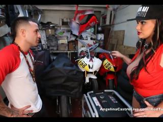 Angelina castro takes cumload trong bike garage!