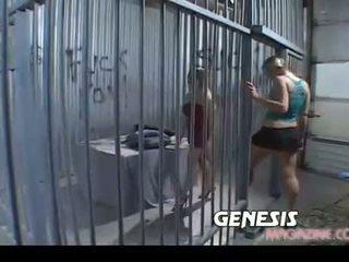 pijpen, kijken lesbisch video-, gevangenis vid