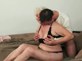 Young man loves busty fat hairy granny