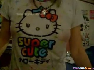Sexy Japanese Girl With Wet Hello Kitty T-Shirt