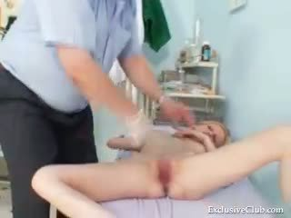 Gynecological pussy exam of naturaly big tits