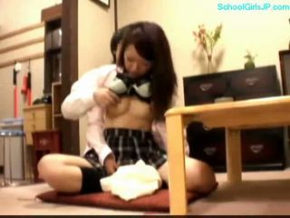 Schoolgirl getting her tits rubbed nipples sucked pussy fing