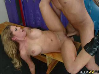 Sexy big titted blonde gets nailed in the locker room