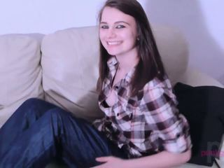 Barely legal emo teen strips on the sofa